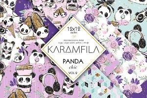 Panda Girl Fashion Digital Paper