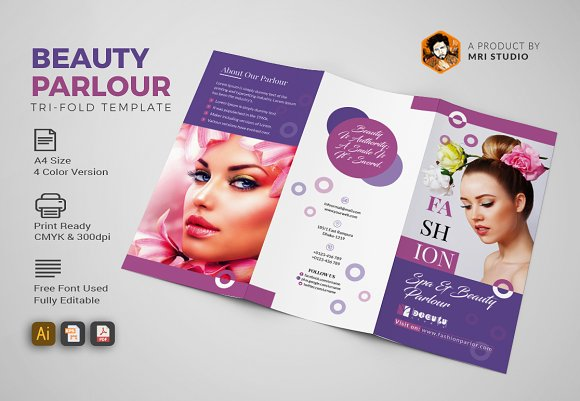 Beauty Parlour Trifold-Graphicriver中文最全的素材分享平台