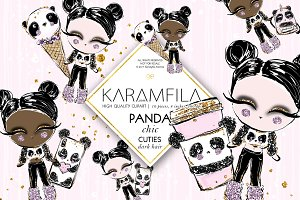 Panda Fashion Dolls Clipart