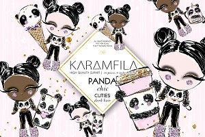 Panda Fashion Dolls Clipart