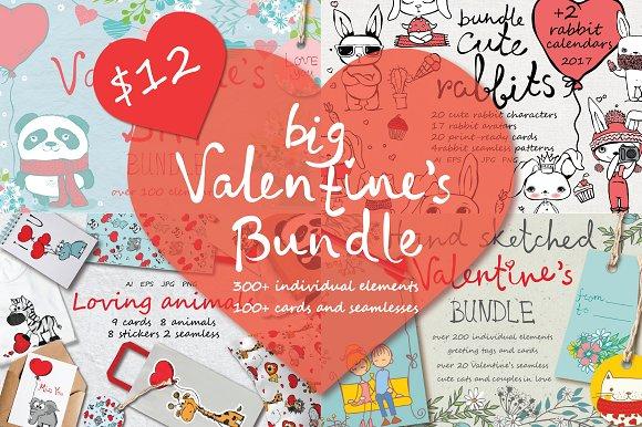 Big Valentine's Bundle-Graphicriver中文最全的素材分享平台
