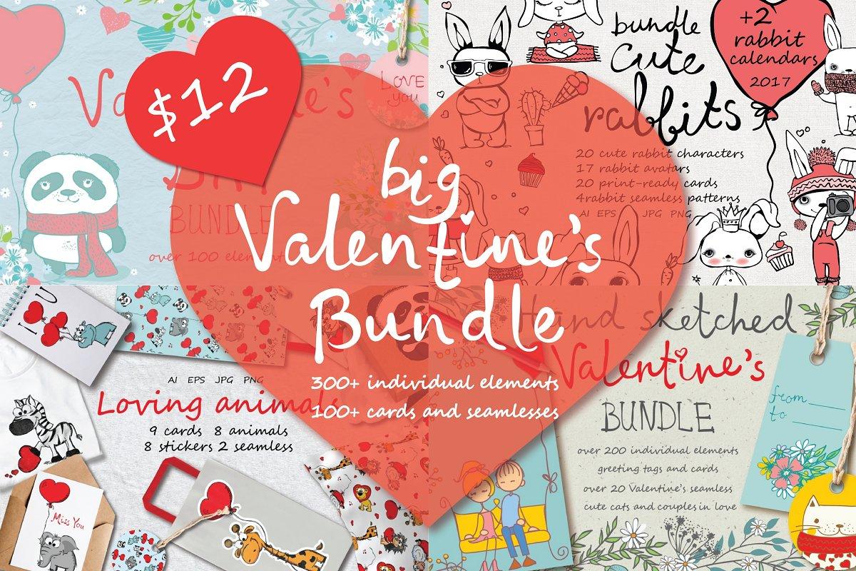 6eab2355ec Big Valentine's Bundle ~ Illustrations ~ Creative Market
