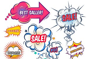 Comic Speech Bubbles With Sale Set