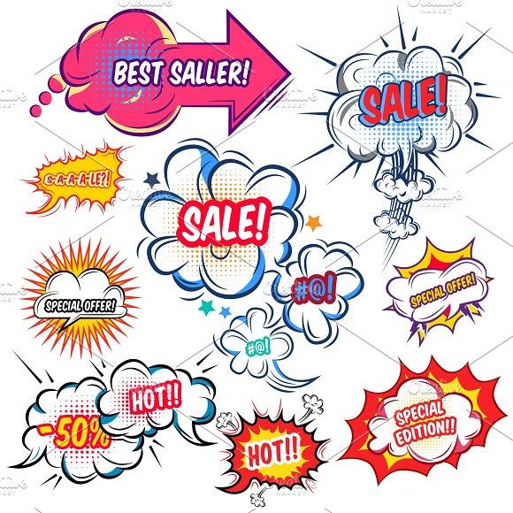 Comic Speech Bubbles With Sale Set