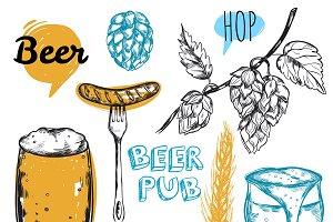 Sketch Beer Pub Icon Set