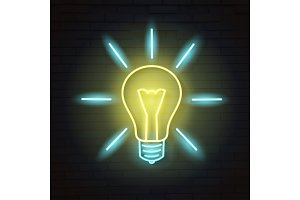 Vector illustration light bulb.Neon sign.