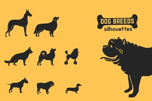 25 Dog vector silhouettes set