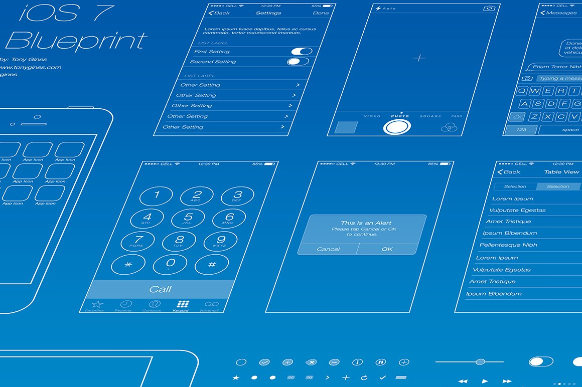 Ios wireframe blueprint product mockups creative market malvernweather Gallery