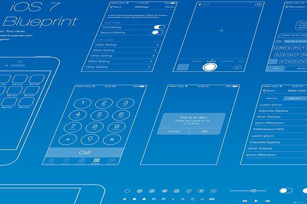 Ios wireframe blueprint product mockups creative market malvernweather Images