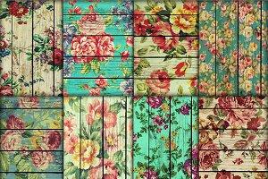 Wood floral paper,  mint floral wood