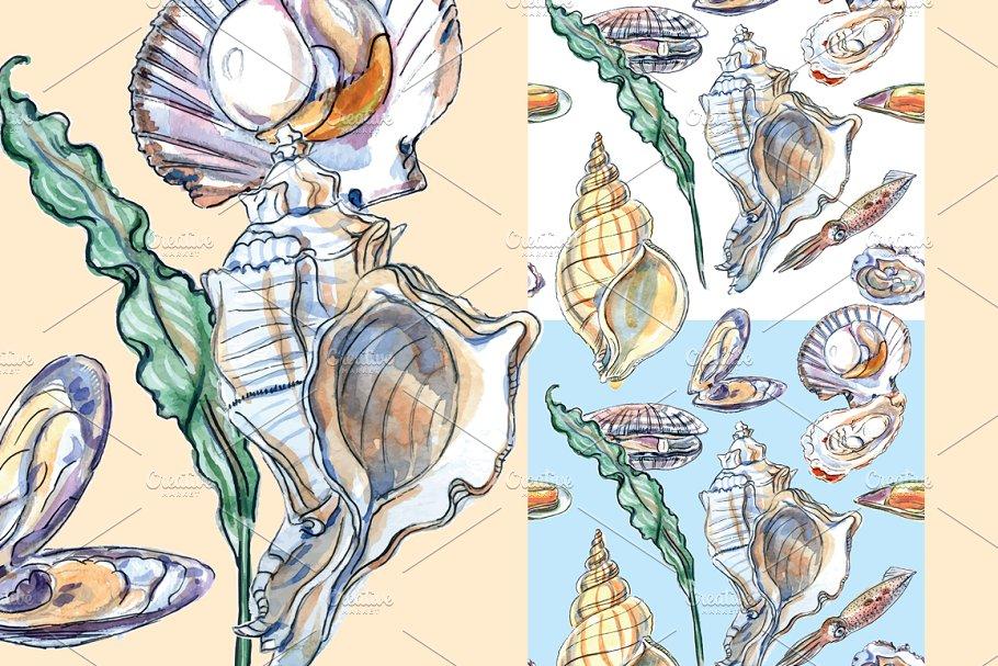 Watercolor shellfish set