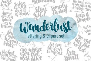 Wanderlast: lettering & clipart set