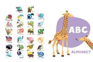 Cute animal alphabet 26 illustration