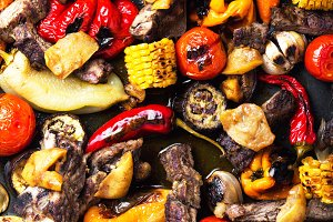 Beef meat with grilled vegetables