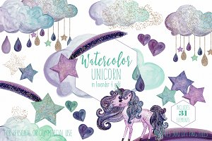 Mint & Gold Rainbow Unicorn Clipart