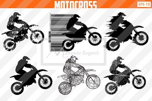 Silhouette of a motocross rider. Set