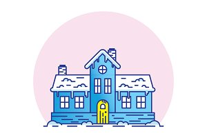 Snowy House Vector Illsturation