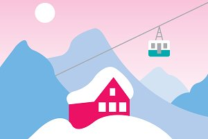 Snow Slopes Vector Illustration