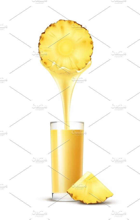 Pineapple slice with juice stream