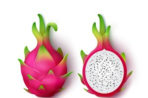 Whole and sliced dragon fruit