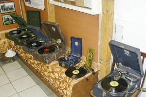Old record players of vinyl discs. The gramophones and gramophones in the box.