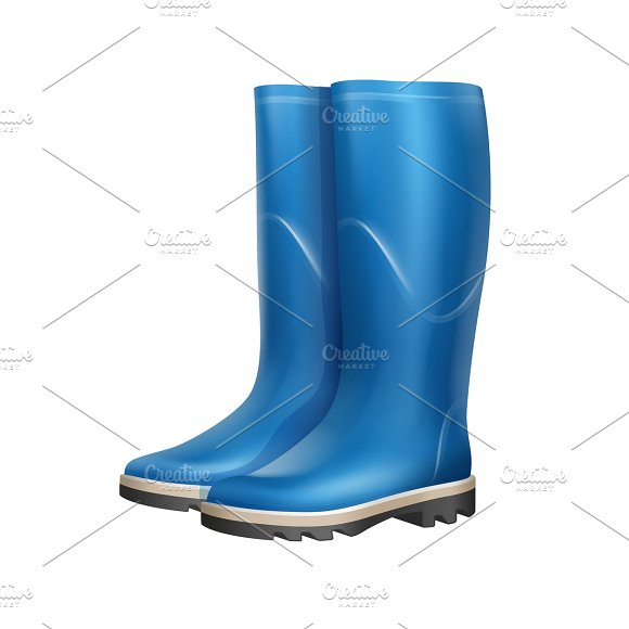 Pair of blue rubber boots