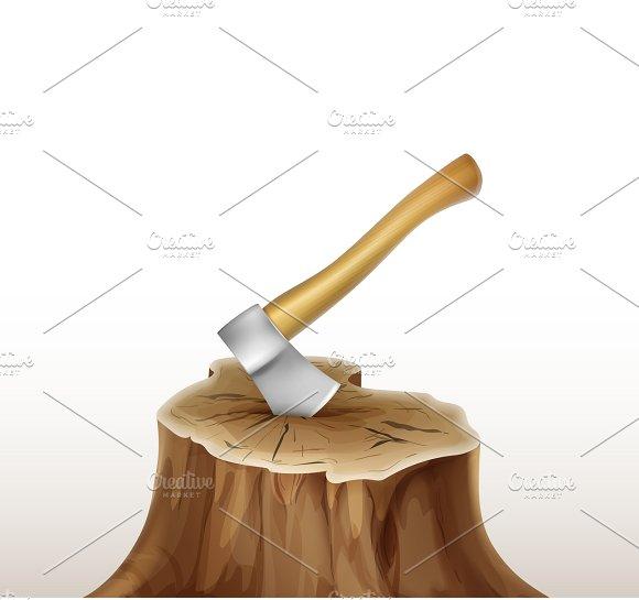 Vector iron axe in stump