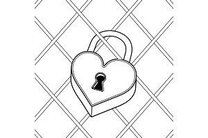 Heart shaped lock coloring book vector