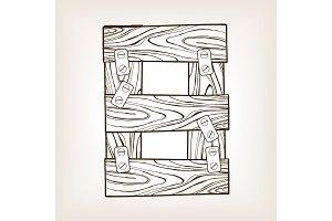 Wooden number 8 engraving vector illustration