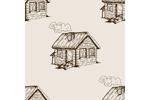 Village house seamless pattern engraving vector