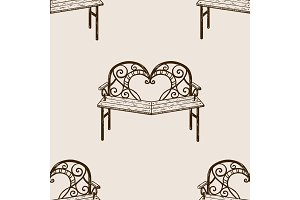 Reconciliation bench seamless pattern engraving
