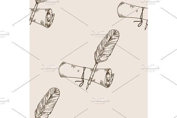 Ancient scroll and pen seamless pattern engraving