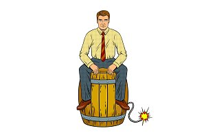 Man on powder keg pop art vector illustration
