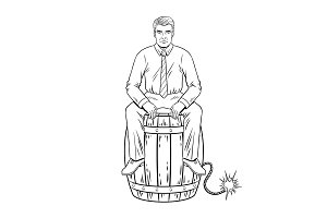 Man on powder keg coloring book vector