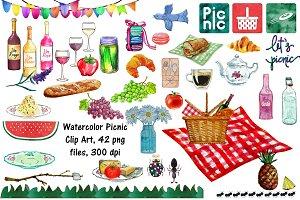 Watercolor Picnic Clip Art