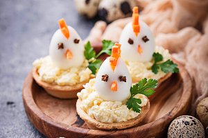 Chickens from eggs.  Easter appetizers for party