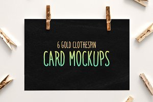 6 Gold Clothespin-Style Card Mockups