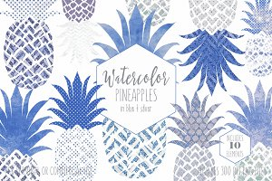 Blue & Silver Geometric Pineapples