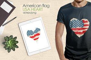 American Flag/USA Heart