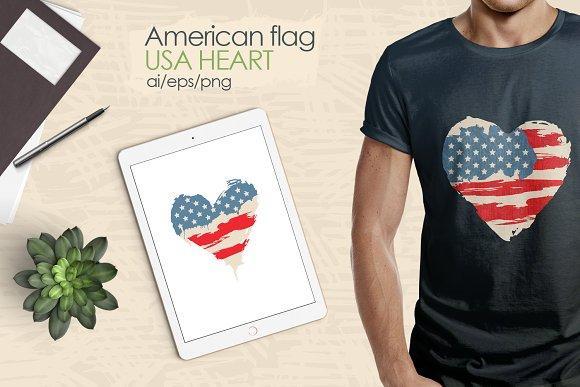 American Flag USA Heart