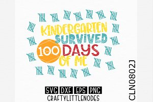 Kindergarten Survived 100 Days SVG