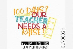 100 Days Teacher Needs A Raise! SVG