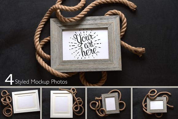 nautical rope picture frame mockup product mockups - Nautical Picture Frame