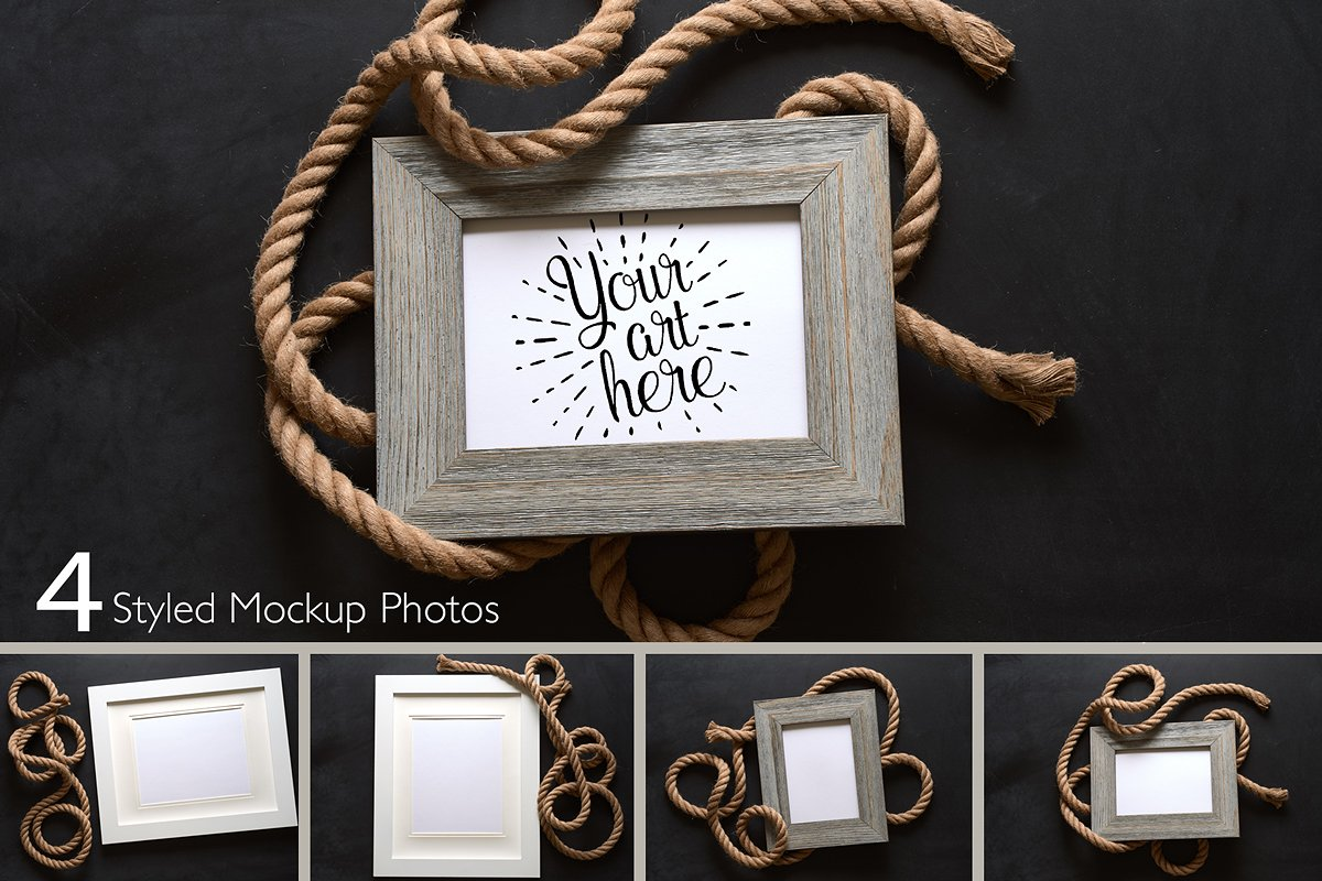 Nautical Rope Picture Frame Mockup in Mockup Templates