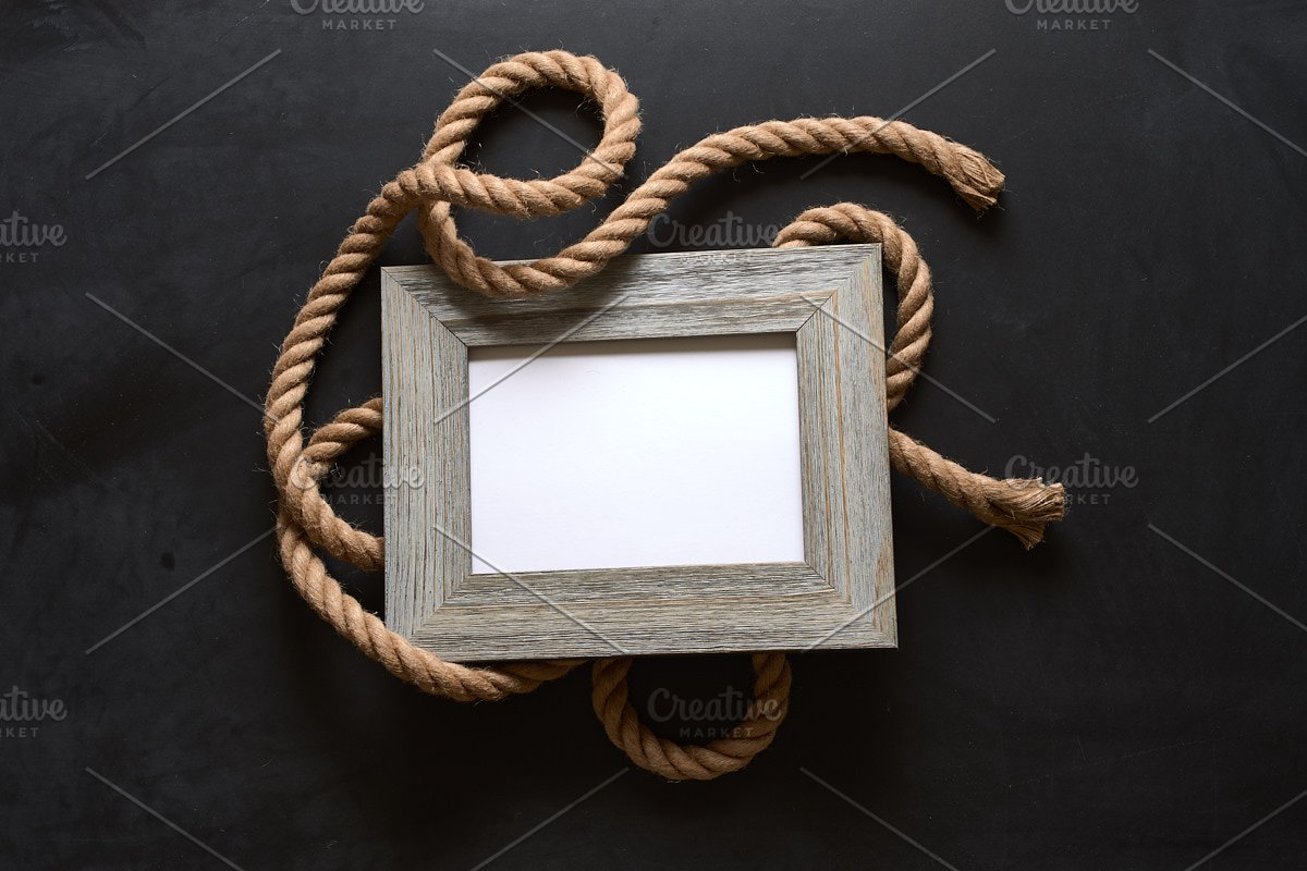 Nautical Rope Picture Frame Mockup in Mockup Templates - product preview 3