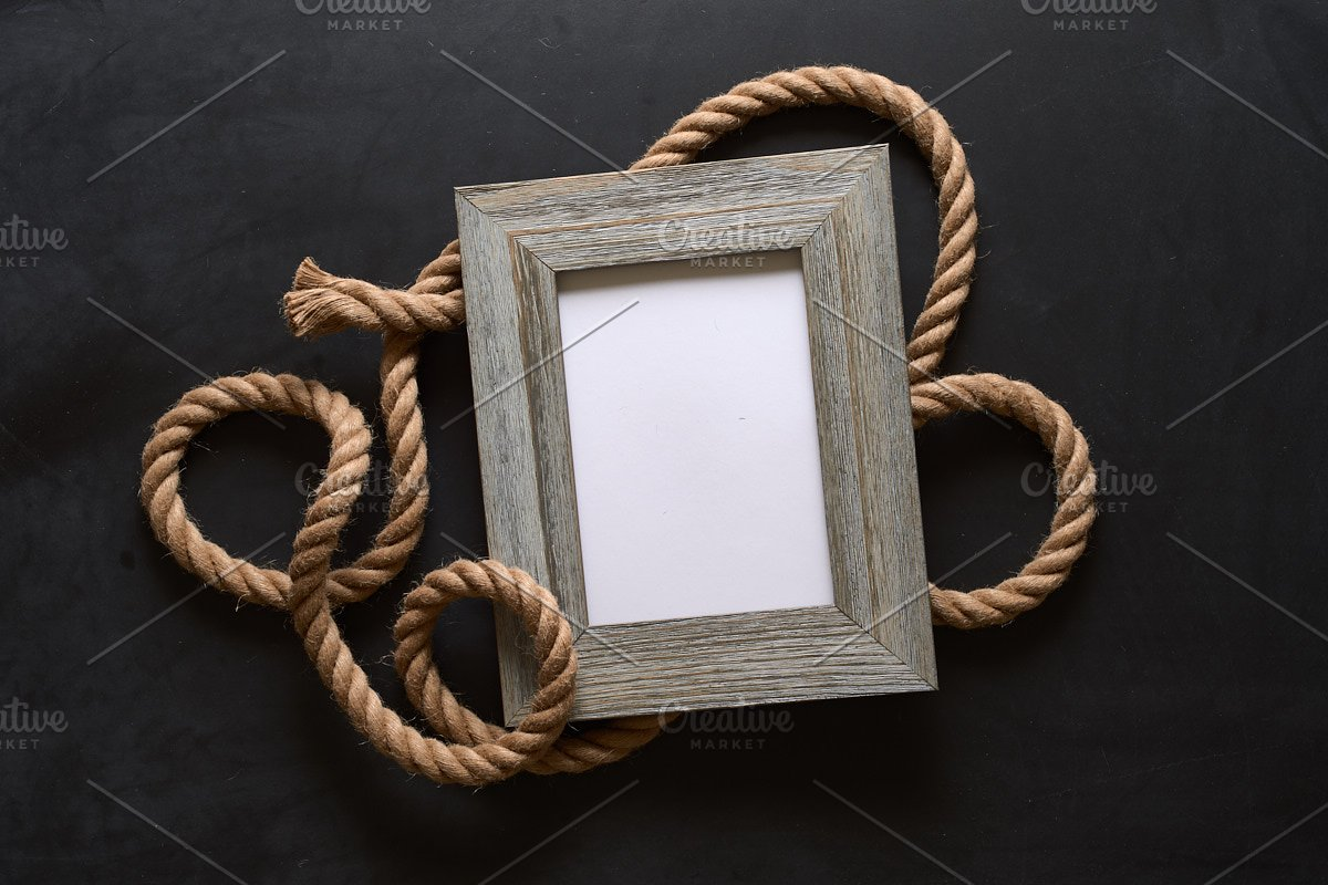 Nautical Rope Picture Frame Mockup in Mockup Templates - product preview 4