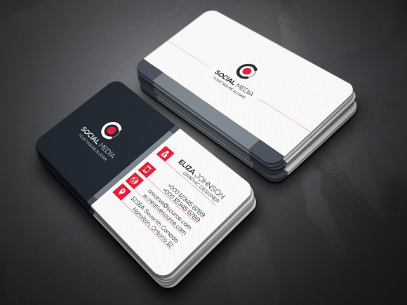 Social Media Business Card-Graphicriver中文最全的素材分享平台