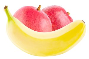 Banana and mango on white background