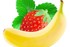 Banana and strawberry on white