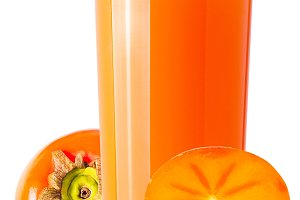 Glass with fresh persimmon